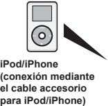 iPod/iPhone (conexión mediante el cable accesorio para iPod/iPhone)