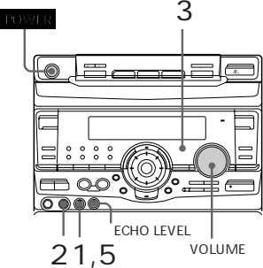 "3 POWER 0 ) "" ⁄ Æ' ECHO LEVEL 2 1,5 VOLUME"