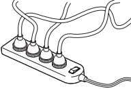 • Never use multi-plug adapters to plug multiple power cords in the same out- let.