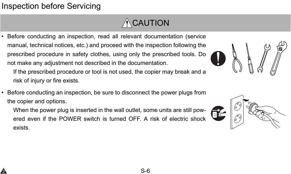 Inspection before Servicing CAUTION • Before conducting an inspection, read all relevant documentation (service