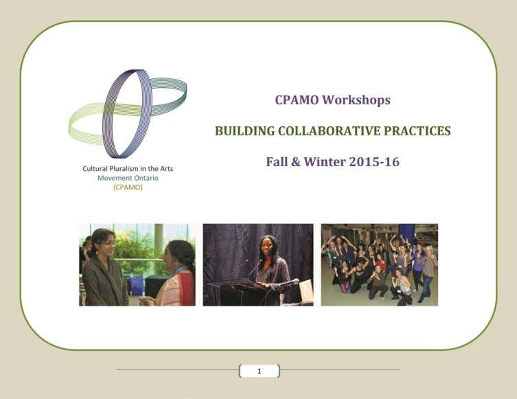 Section VI: Workshops on Collaborative Practices 2015-16 70