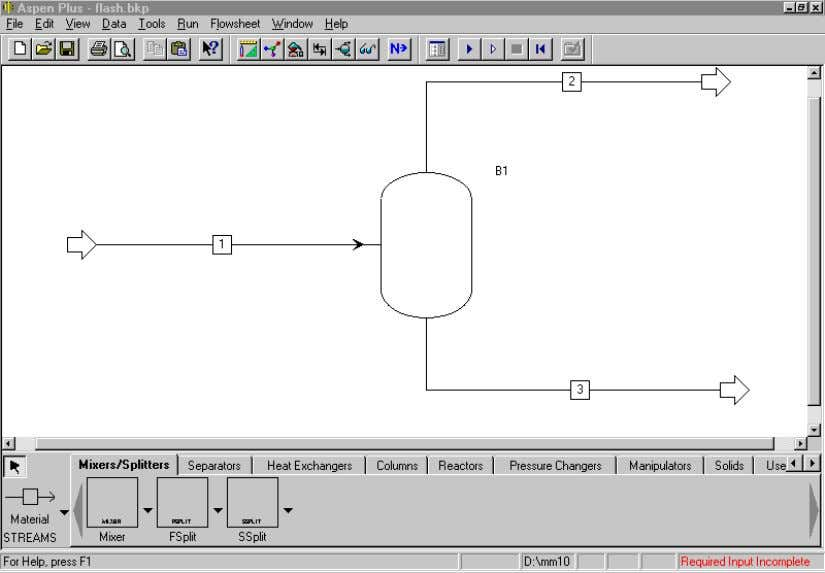 the graphical flowsheet for the opened Flash simulation: The graphical simulation flowsheet shows the feeds,
