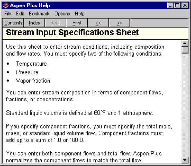 the current sheet, the Stream Input Specifications Sheet: In Help, green underlined words identify topics with