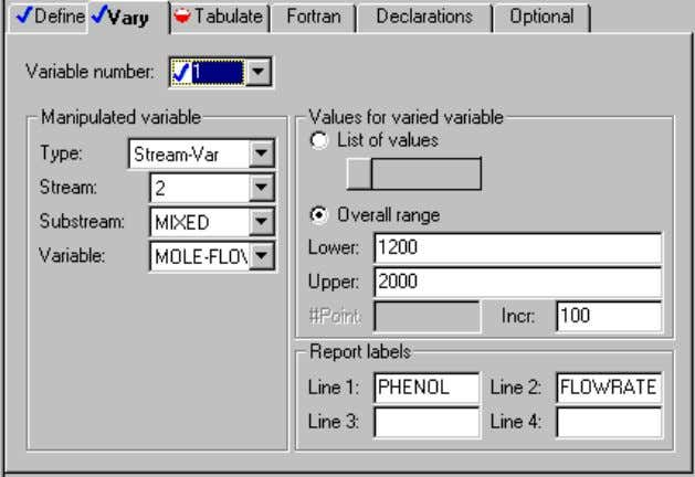 the information for the manipulated process variable: ➤ Click the Next button. The Tabulate sheet appears.