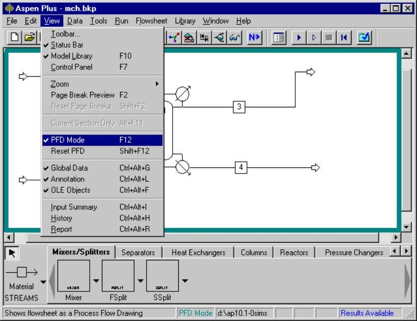 displays a thick blue border when you are using PFD mode. To switch back to Simulation
