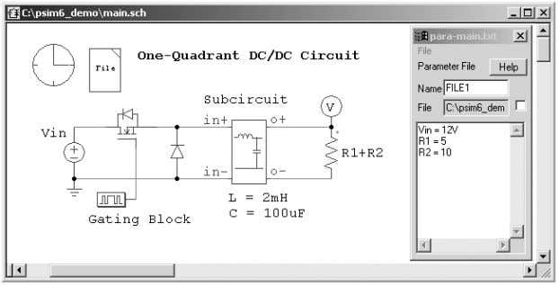 Inside the subcircuit: File: sub.sch File: main.sch