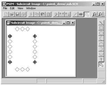 the Subcircuit menu. A window will pop-up, as shown below. In the window, the diamonds marked