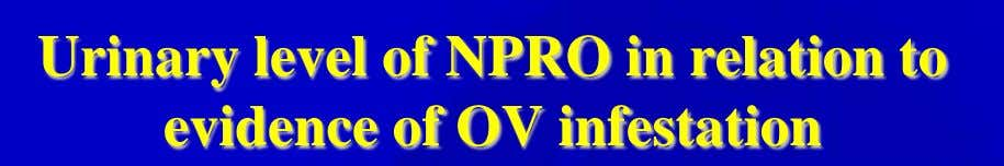 Urinary level of NPRO in relation to evidence of OV infestation