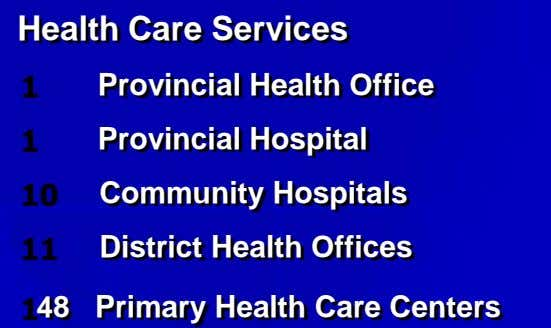 Health Care Services Provincial Health Office Provincial Hospital Community Hospitals District Health Offices 48