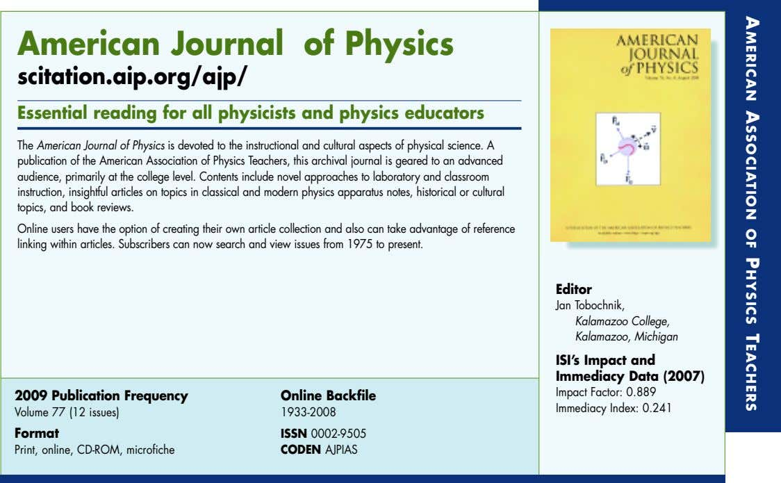 AMERICAN ASSOCIATION OF PHYSICS TEACHERS AMERICAN ASSOCIATION OF PHYSICS TEACHERS American Journal of Physics