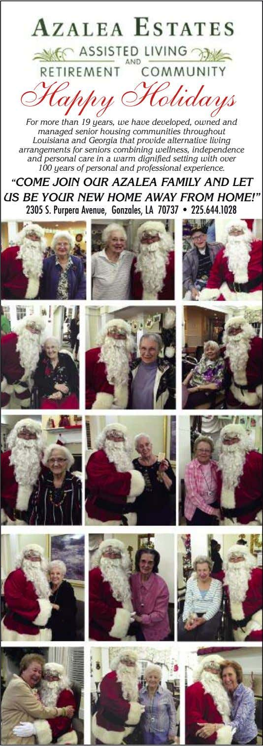 Happy Holidays For more than 19 years, we have developed, owned and managed senior housing