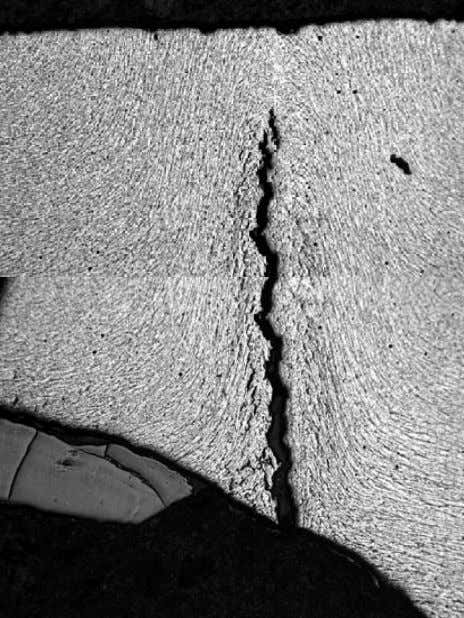 Intergranular cracking at gouged area • Hydrogen induced crack at ERW seam • Characteristic of SCC