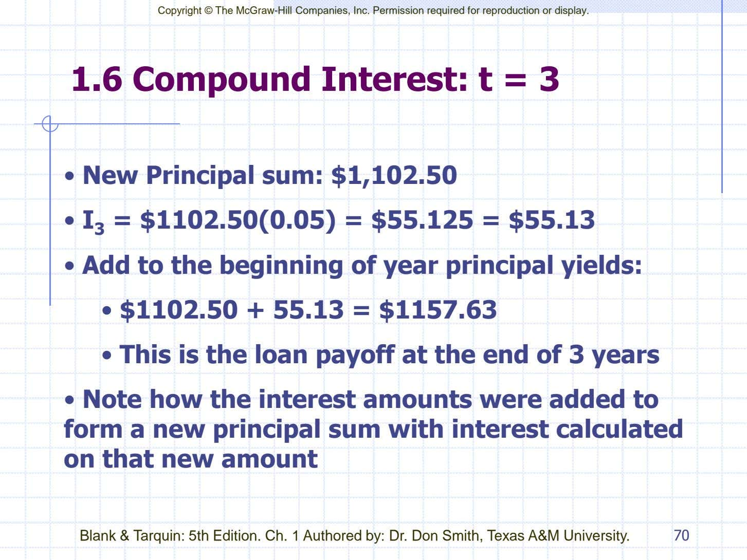 Copyright © The McGraw-Hill Companies, Inc. Permission required for reproduction or display. 1.6 Compound Interest: