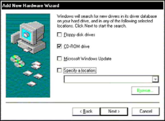 User Guide Westell Router (Models 6000, 6100) 3. Windows 98 SE: Select CD-ROM drive option. See
