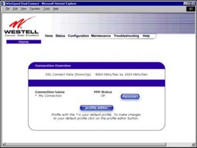 User Guide 7.2 Confirming a DSL Sync Westell Router (Models 6000, 6100) View the DSL Connection