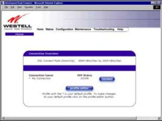 User Guide 7.3 Establishing a PPP Session Westell Router (Models 6000, 6100) View the PPP Status