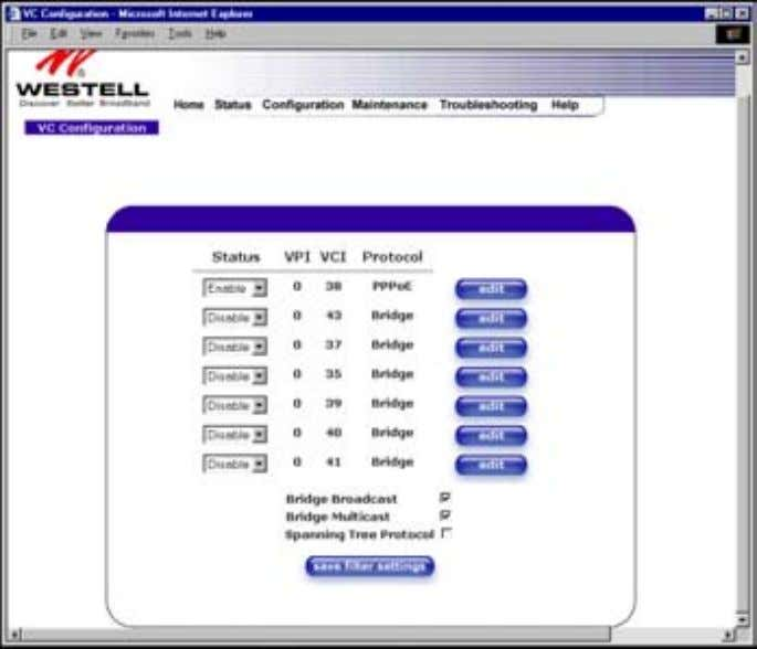 User Guide Westell Router (Models 6000, 6100) 12. CONFIGURATION 12.1 VC Configuration The following settings will