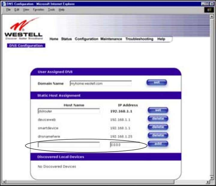User Guide Westell Router (Models 6000, 6100) User Assigned DNS Domain Name This field allows you