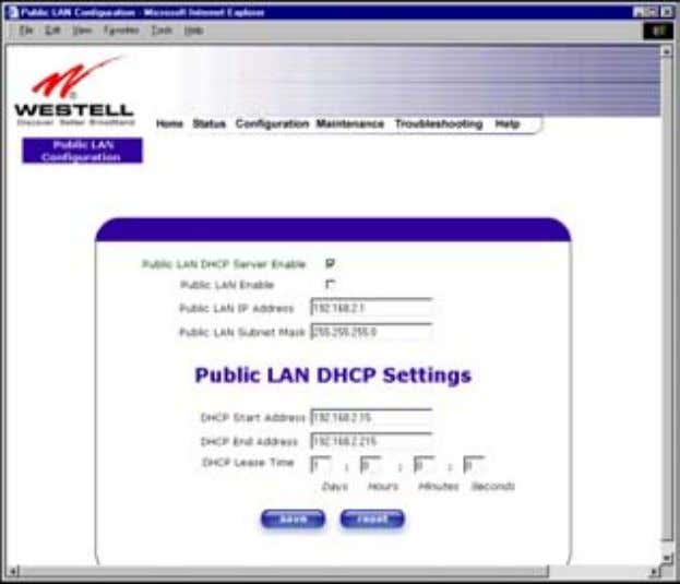 User Guide Westell Router (Models 6000, 6100) If you clicked on the Public LAN Enable box,