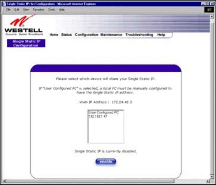 User Guide Westell Router (Models 6000, 6100) 12.6 Single Static IP Configuration – Single IP Address