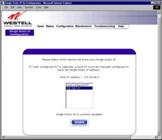 User Guide Westell Router (Models 6000, 6100) 12.6.1 Enabling Single Static IP – Single IP Address
