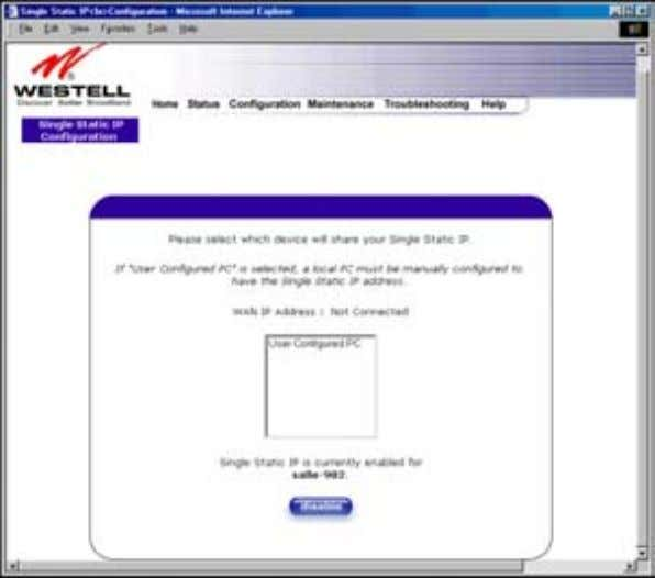 User Guide Westell Router (Models 6000, 6100) 12.6.2 Disabling Single Static IP – Single IP Address
