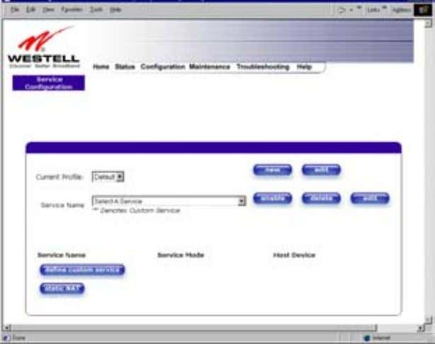 User Guide Westell Router (Models 6000, 6100) Current Profile Displays the NAT (Network Address Translation) services