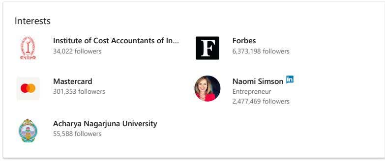 Interests Institute of Cost Accountants of In… Forbes 34,022 followers 6,373,198 followers Mastercard Naomi Simson