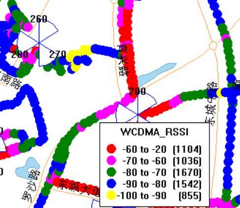 Analyzing RSSI Distribution Near Pilot Pollution Point RSSI near Yuxing Rd. 0 shows the RSCP of