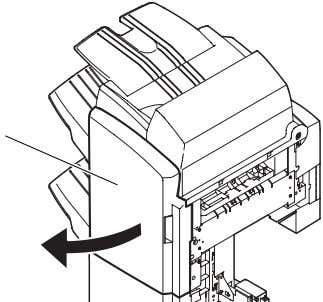 <Staple Finisher-B1> <Booklet Finisher-B1> [1] F-2-8 [1] F-2-9 8) Remove the tape and the cushioning