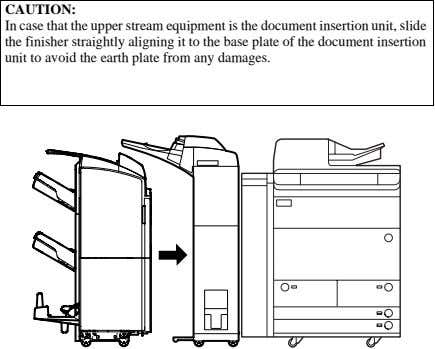 CAUTION: In case that the upper stream equipment is the document insertion unit, slide the