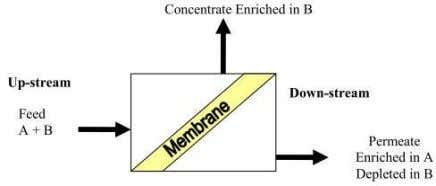 and by membrane separated into concentrate and permeate. Fig. 2.3 Process fundamental of membrane technology The