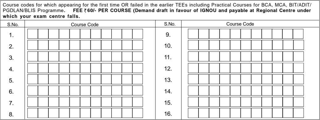 Course codes for which appearing for the first time OR failed in the earlier TEEs
