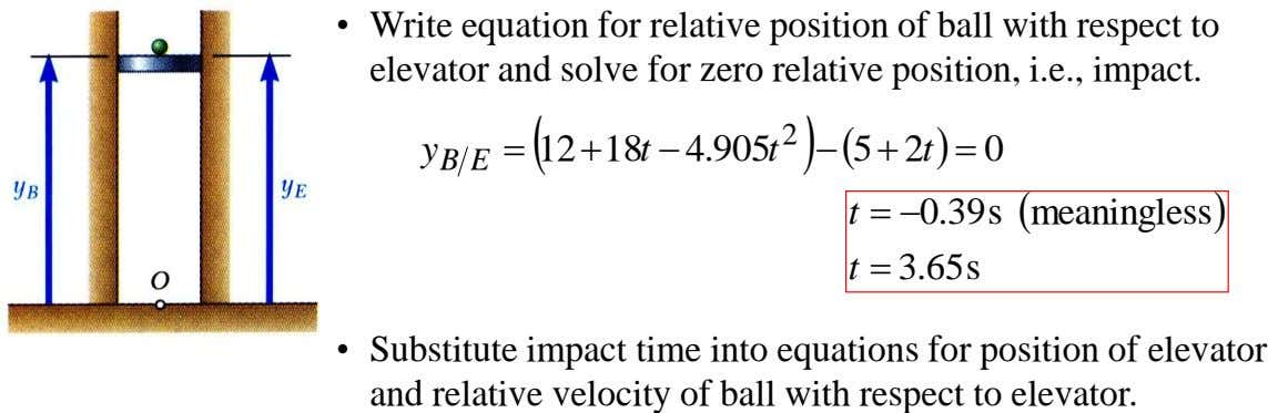 • Write equation for relative position of ball with respect to elevator and solve for