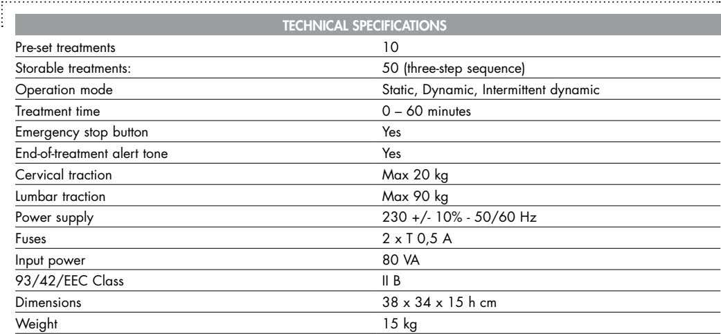 TECHniCAL SPECiFiCATionS Pre-set treatments 10 Storable treatments: 50 (three-step sequence) Operation mode Static,