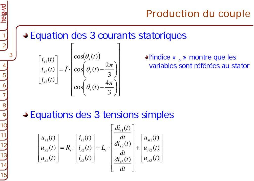 Production du couple 1 1 Equation des 3 courants statoriques 2 2 ⎡ ⎤ ⎢