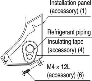Installation panel (accessory) (1) Refrigerant piping Insulating tape (accessory) (4) M4 × 12L (accessory) (6)