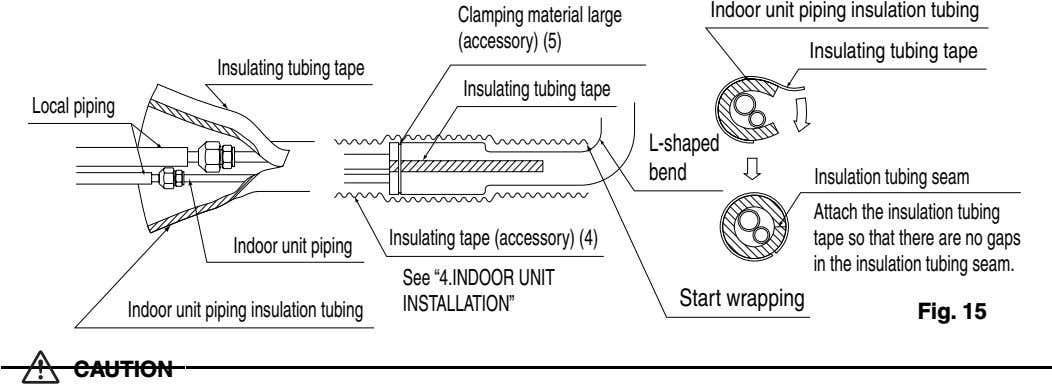 Clamping material large (accessory) (5) Indoor unit piping insulation tubing Insulating tubing tape Insulating tubing tape