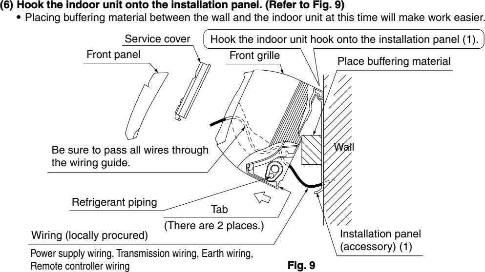(6) Hook the indoor unit onto the installation panel. (Refer to Fig. 9) • Placing buffering