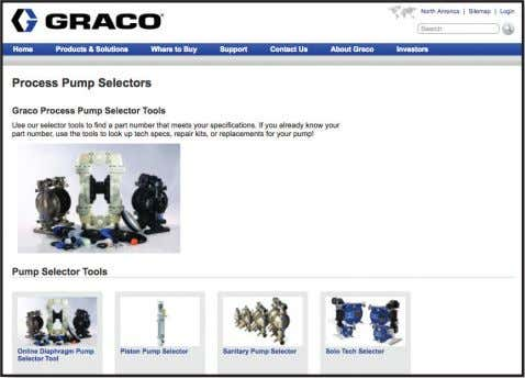 www.graco.com/pumpselectors or contact your distributor. From the homepage at www.graco.com/pumpselectors, click on