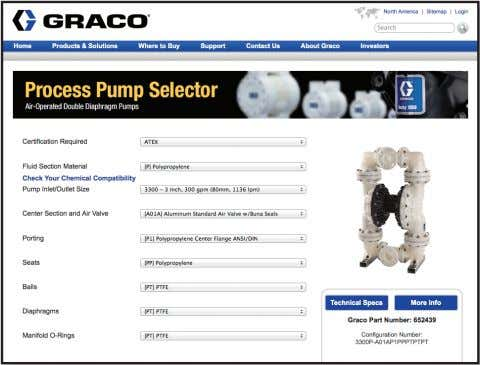 click on selector for desired pump. Example of Product Selector Tool on