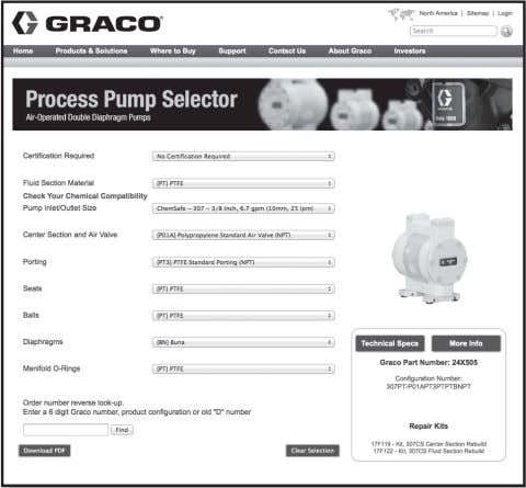 pump. Pump Configuration Options Pump Configuration Options Example of Product Selector Tool on