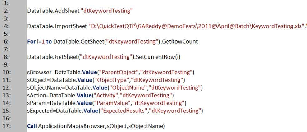programing object repository which is used during test process. Consider the below snap: GAReddy @ OneTestingCenter