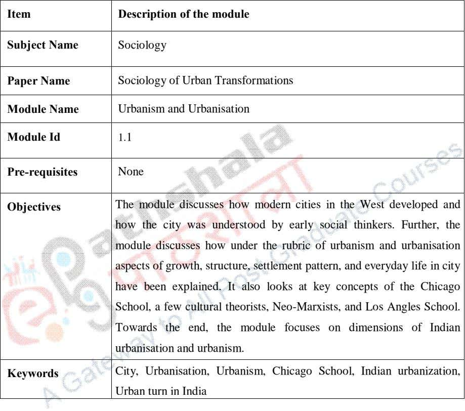 Item Description of the module Subject Name Sociology Paper Name Sociology of Urban Transformations Module