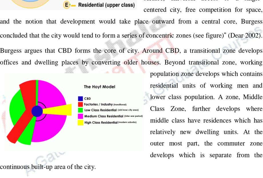 concluded that the city would tend to form a series of concentric zones (see figure)