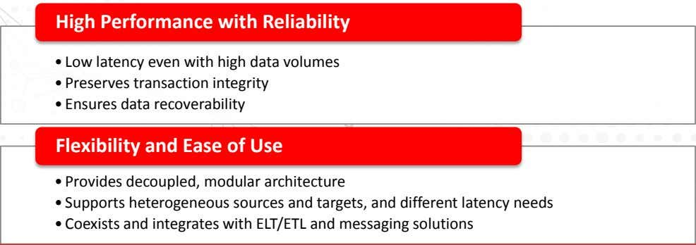 High Performance with Reliability • Low latency even with high data volumes • Preserves transaction