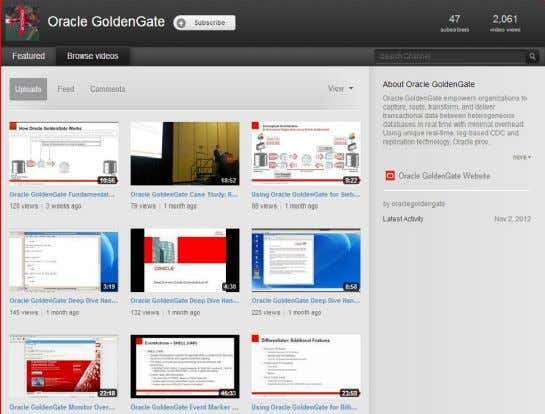 Oracle GoldenGate YouTube Channel 36 Copyright © 2013, Oracle and/or its affiliates. All rights reserved. 