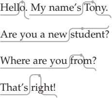 Hello. My name's Tony. Are you a new student? Where are you from? That's right!
