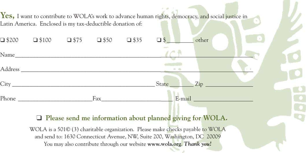 Yes, I want to contribute to WOLA's work to advance human rights, democracy, and social