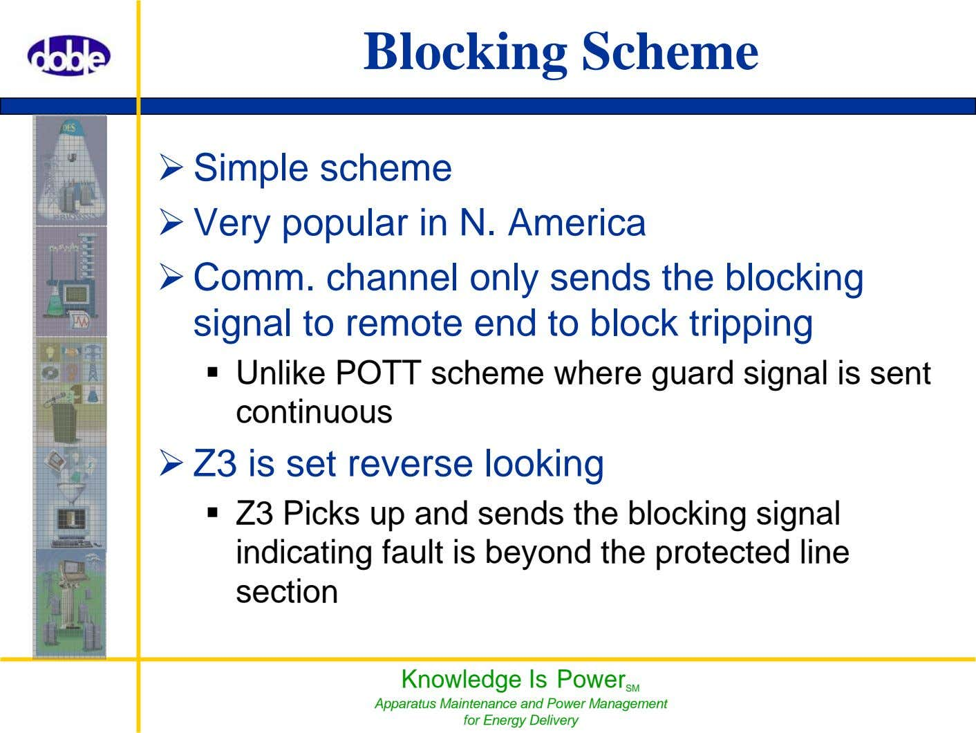Blocking Scheme Simple scheme Very popular in N. America Comm. channel only sends the blocking